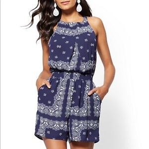 New York and Company Blue Paisley Romper